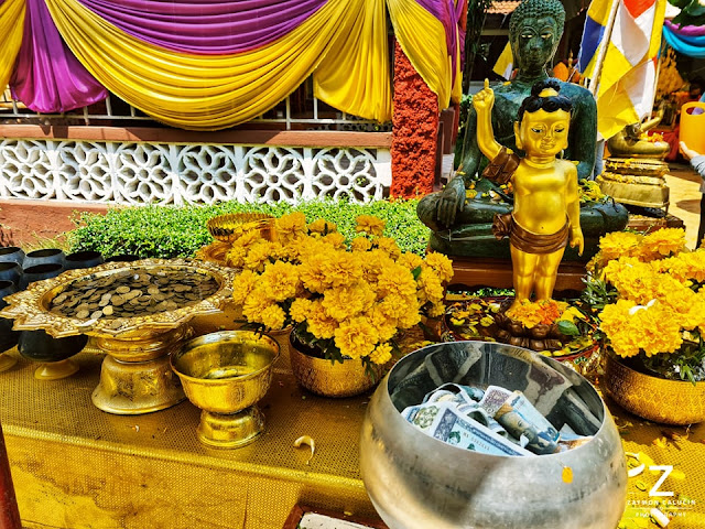 Blessing and donations table at the temple