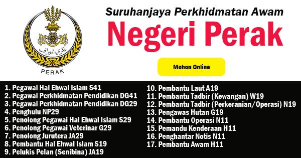 Jawatan Kosong 2019 Di Suruhanjaya Perkhidmatan Awam Negeri Perak Tetap Kontrak Ejawatankini Com