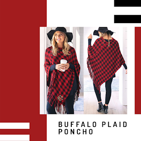 monogrammed buffalo plaid poncho
