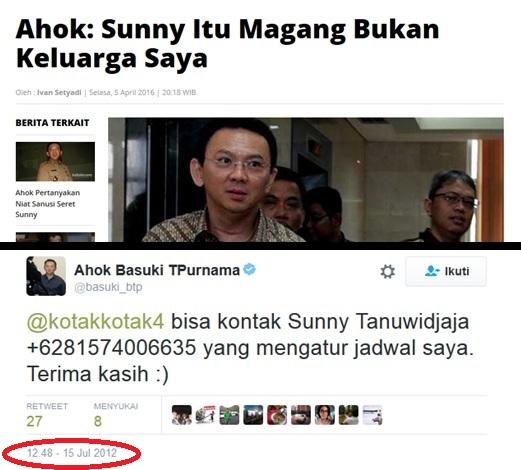 Twit Ahok Tahun 2012 Ini Ungkap Siapa Sesungguhnya Sunny Tanuwijaya
