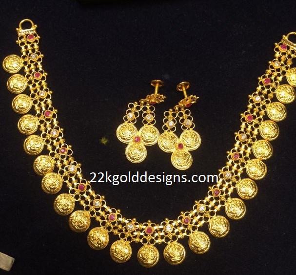 34 Grams Unique Diamond Set: Lakshmi Kasu Necklace In Gold