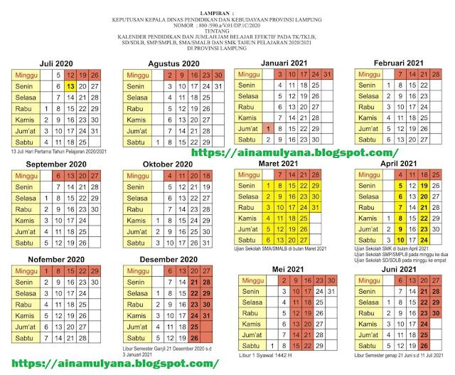 Kalender Pendidikan Provinsi Lampung Tahun Pelajaran  KALENDER PENDIDIKAN PROVINSI LAMPUNG TAHUN PELAJARAN 2020/2021 (TK SD SMP SMA SMK)