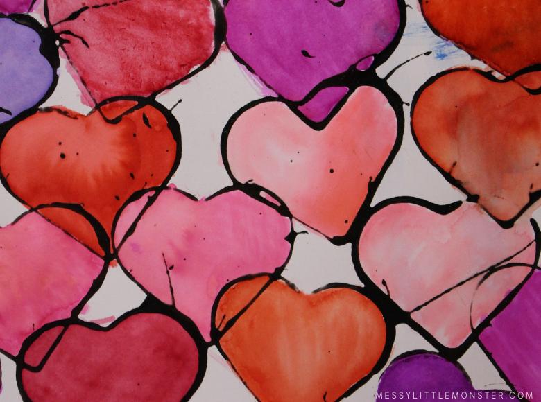 watercolor heart art for kids