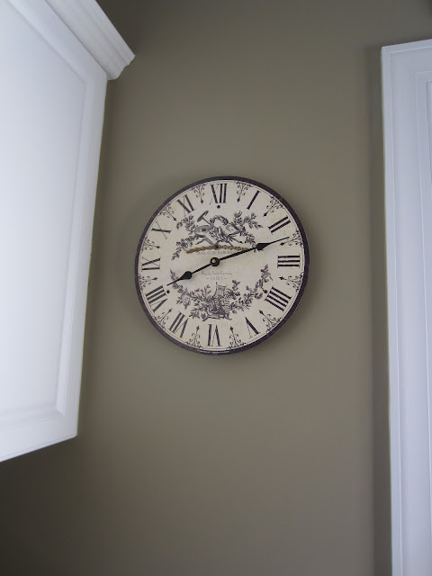 Toile Clock on Benjamin Moore Providence Olive painted wall