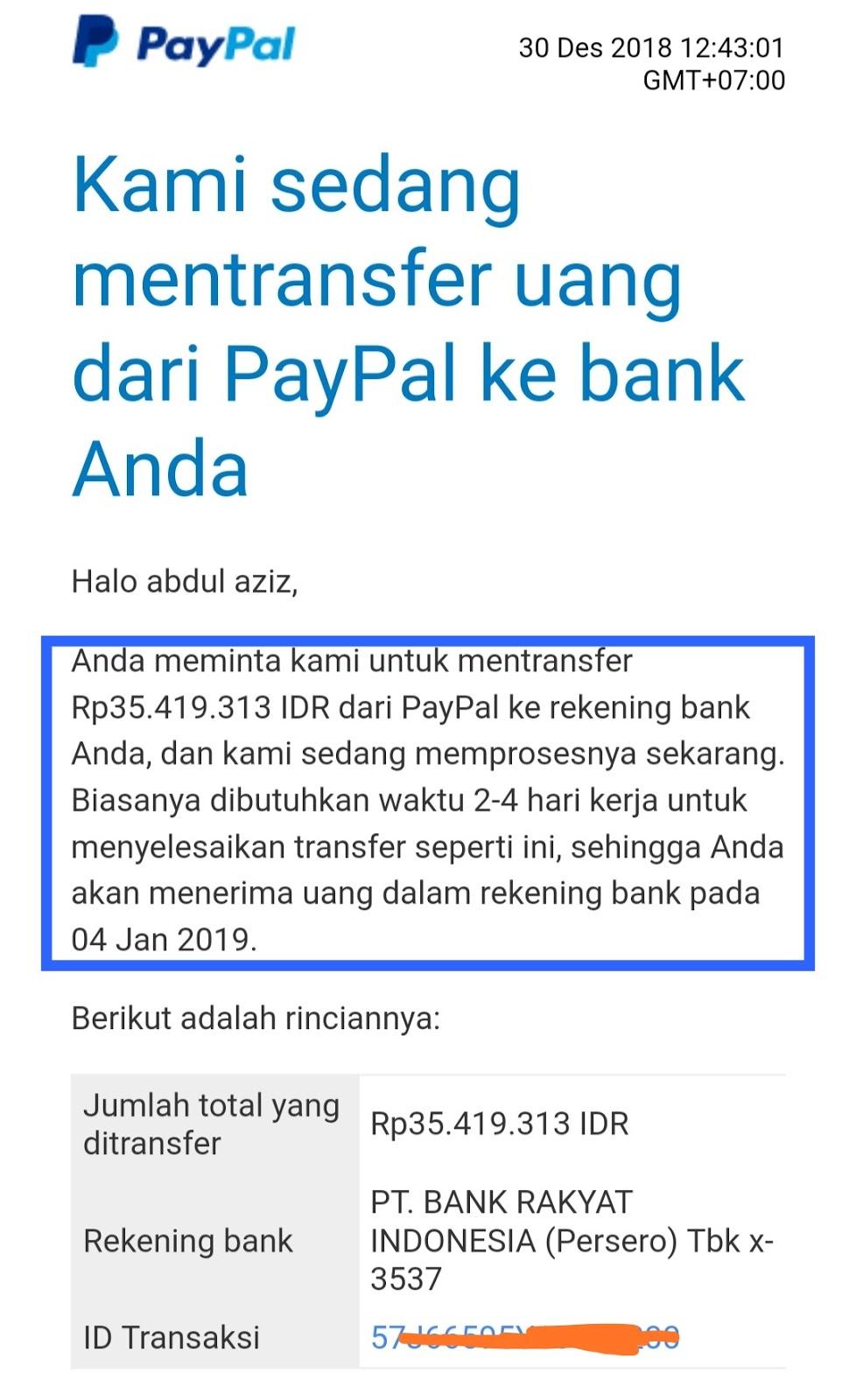 pemberitahuan proses tarik uang dari Paypal ke bank