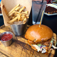 Fried chicken sandwich at Smokeyard BBQ