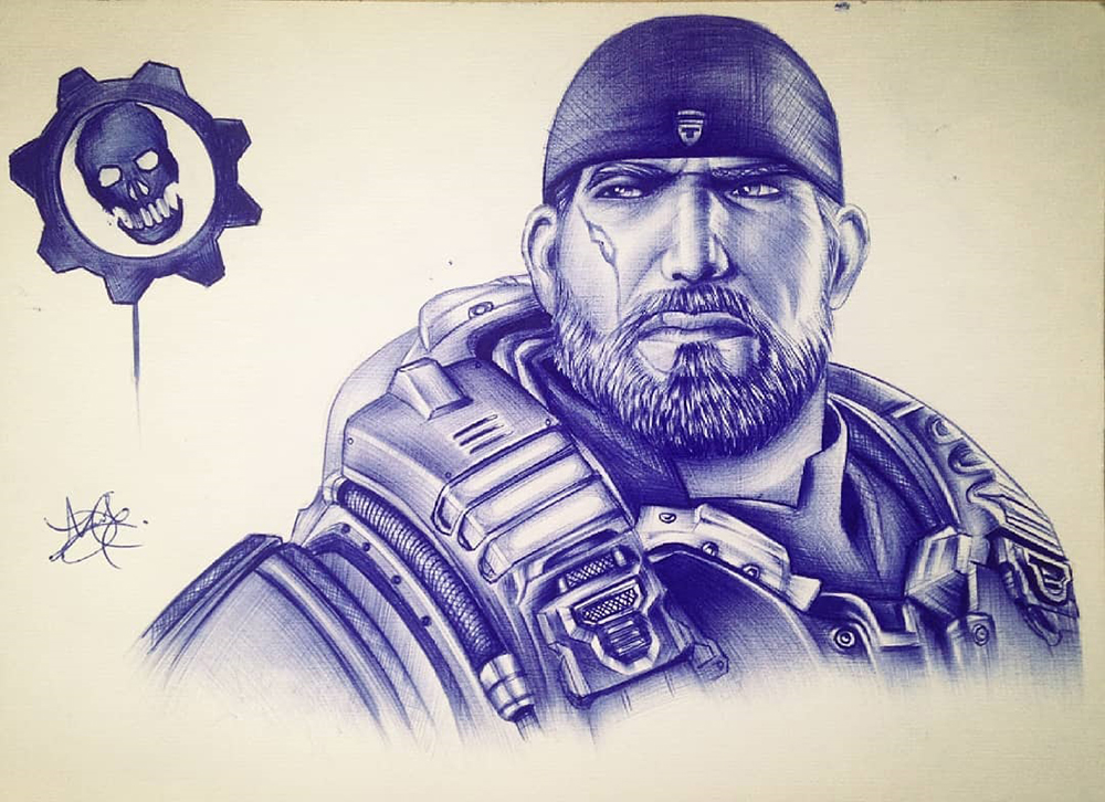 Pen drawing of Marcus finix from Gears Of War