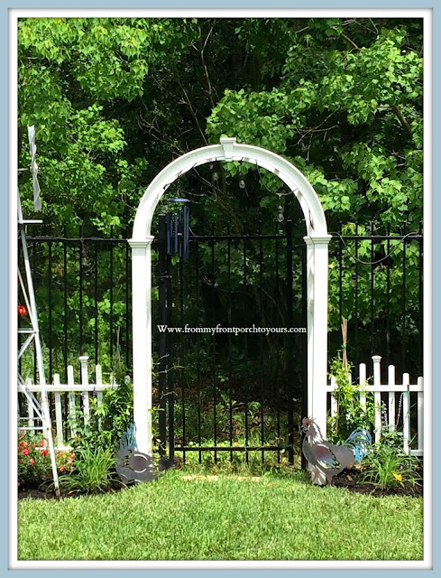 Backyard-English-Country- Garden-Archway-White-Picket-Fence-jasmine-Yellow--From My Front Porch To Yours