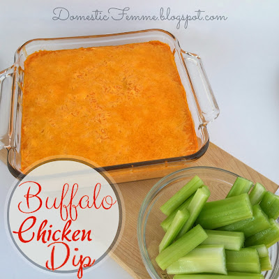 Buffalo Chicken Dip {Domestic Femme} #Ranch #Easy #Dips #Football #Game #Day #Days #GameDay #GameDays #Appetizer #Appetizers #Snack #Snacks #Cream #Cheese #Sauce #Franks #Super #Bowl #SuperBowl #Recipe #Recipes #Finger #Foods #Food #Celery #Crowd #Party #Parties #Potluck #Potlucks