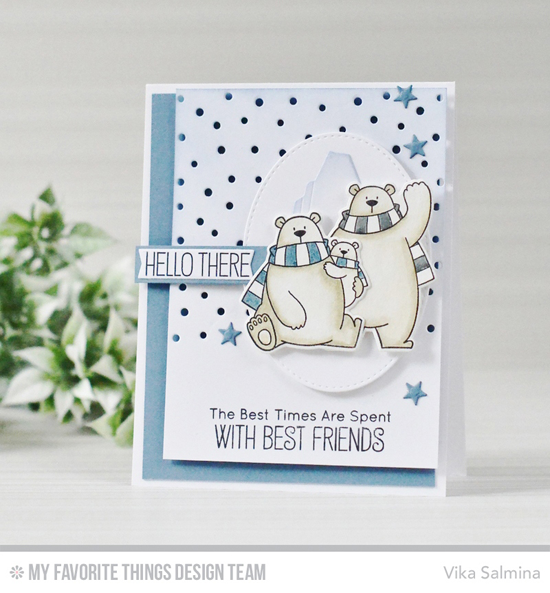 Handmade card from Vika Salmina featuring Birdie Brown Polar Bear Pals stamp set and Die-namics, Birdie Brown Icebergs, Snowfall - Vertical, Pierced Oval STAX, and Tag Builder Blueprints 6 Die-namics #mftstamps