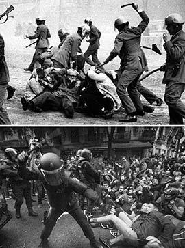 el villano arrinconado, humor, chistes, reir, satira, Barcelona 1976, Barcelona 2017, antidisturbios