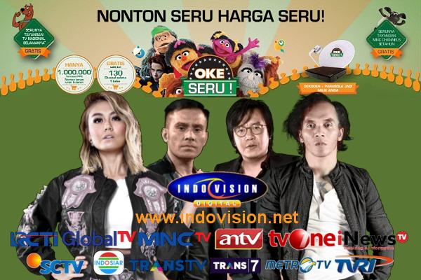 Harga dan daftar channel dalam paket Okeseru Indovision.