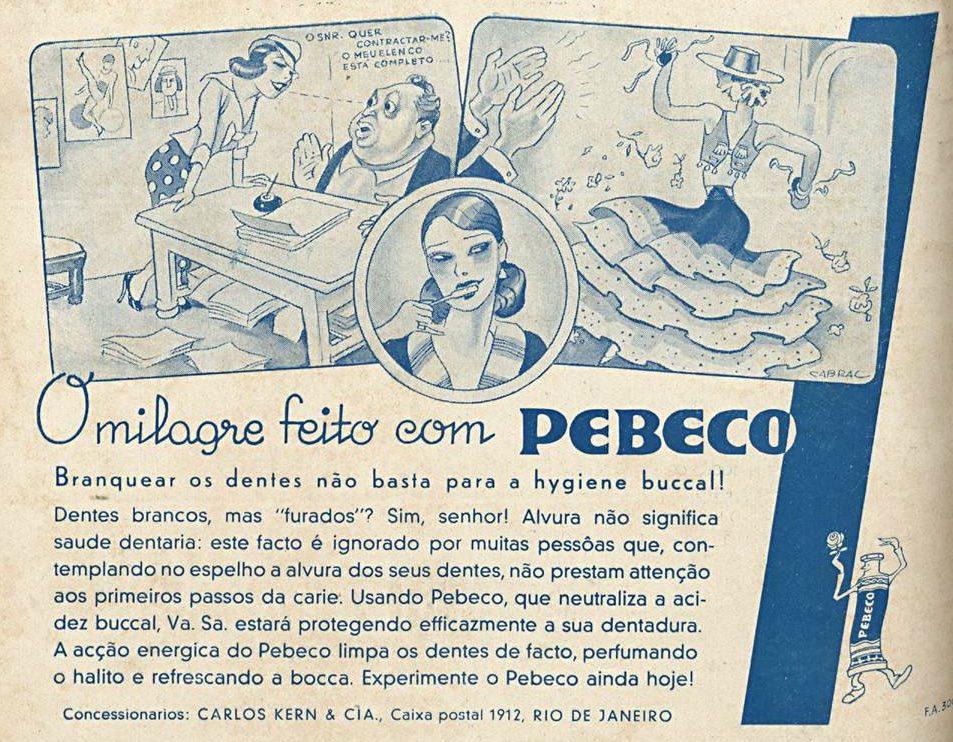 Propaganda antiga do creme dental Pebeco veiculada em 1938