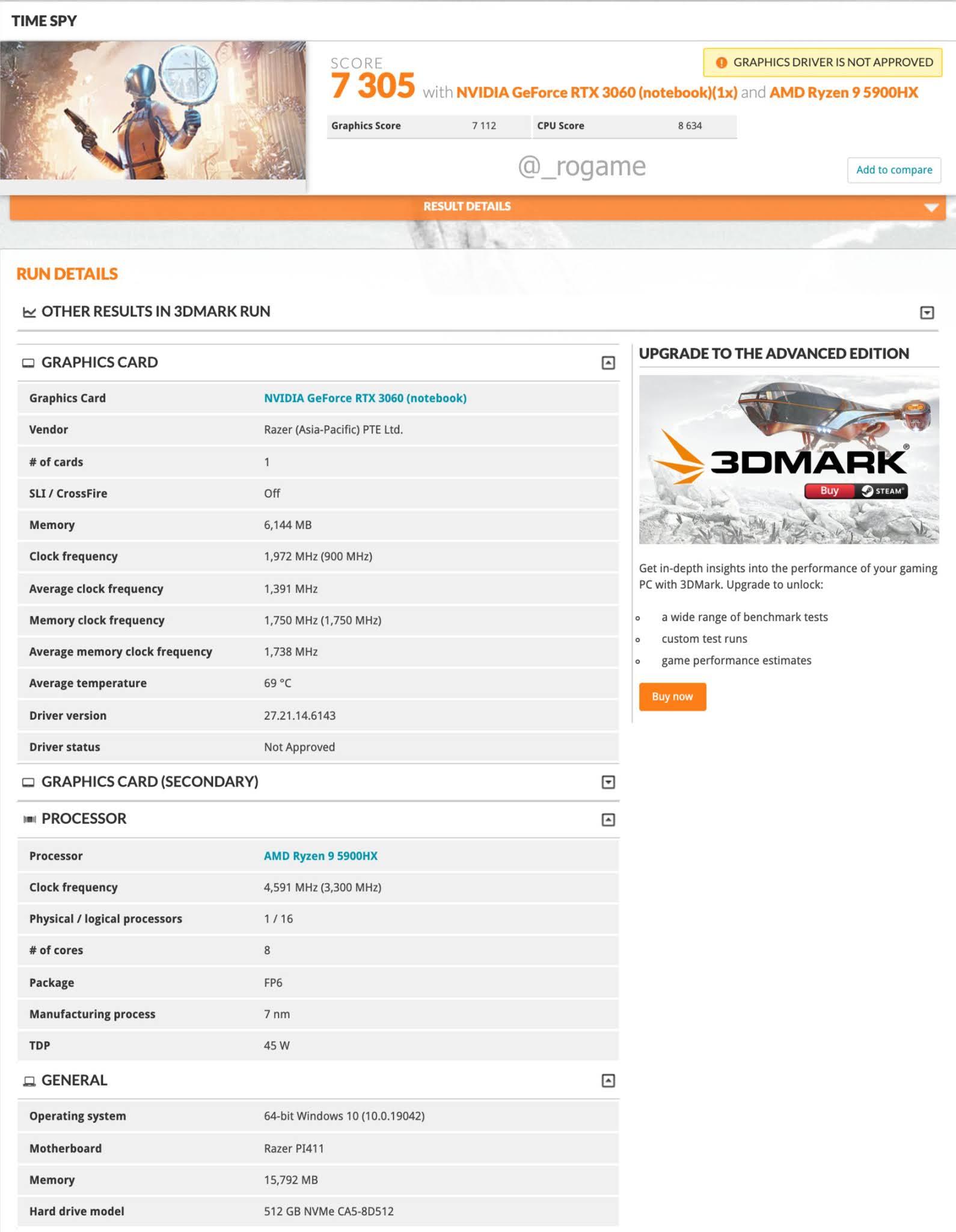 Razer Blade 14 dizüstü bilgisayar 3DMark karşılaştırmalı değerlendirmesinde