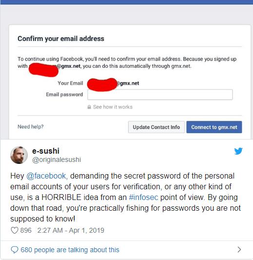 فيسبوك يطالب بعض المستخدمين الجدد بكلمات مرور بريدهم الإلكتروني