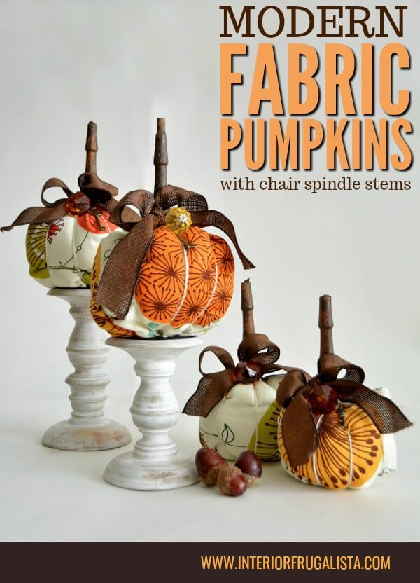 Funky retro mid-century style fabric pumpkins with chair spindle stems that have a unique modern edge in traditional Fall colors for fall decorating. #handmadepumpkins #floralpumpkins #fabricpumpkins