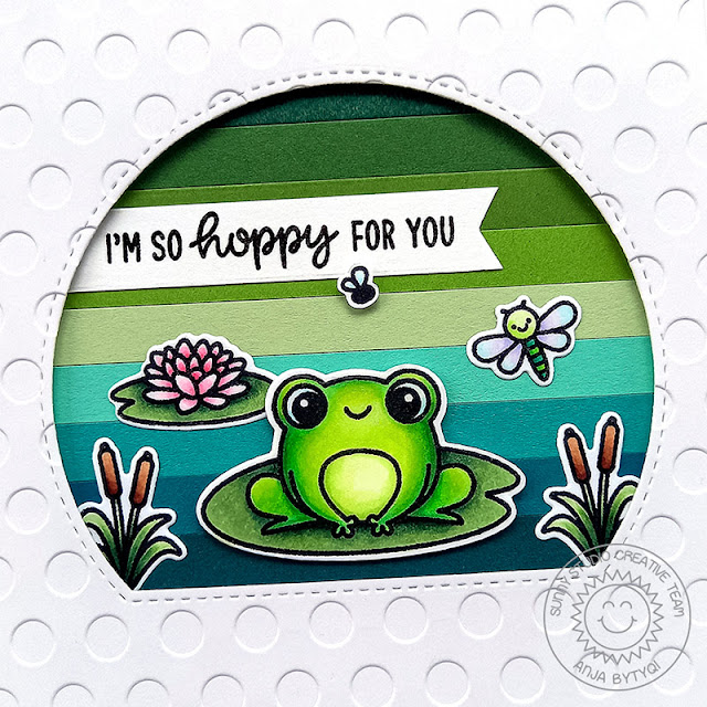 Sunny Studio Stamps: Feeling Froggy Country Scenes Stitched Semi-Circle Dies Everyday Card by Anja Bytyqi