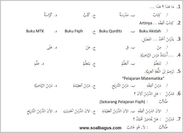 Soal PTS. UTS. MID Kelas 3 Semester 1 Th. 2019. mapel bhs. b. arab. Kurtilas. kunci jawaban. pdf. doc. edit. pg. isian. essay.
