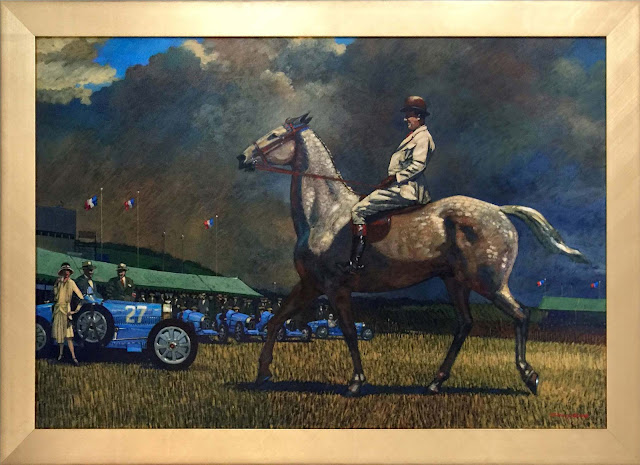 Ettore Bugatti, Acrylic Painting on Canvas by Barry Rowe