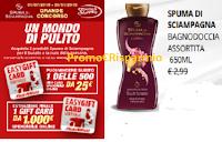 Logo  ''Un mondo di pulito'' e con Spuma di Sciampagna vinci 500 card MediaWorld da 25€ e 1 da 1000€