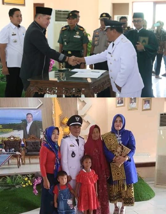 Bupati Pesawaran Sejumlah Kepala Desa Terpilih di GSG Pemkab Setempat