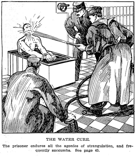 1908 USA prison reform illustration of waterboarding