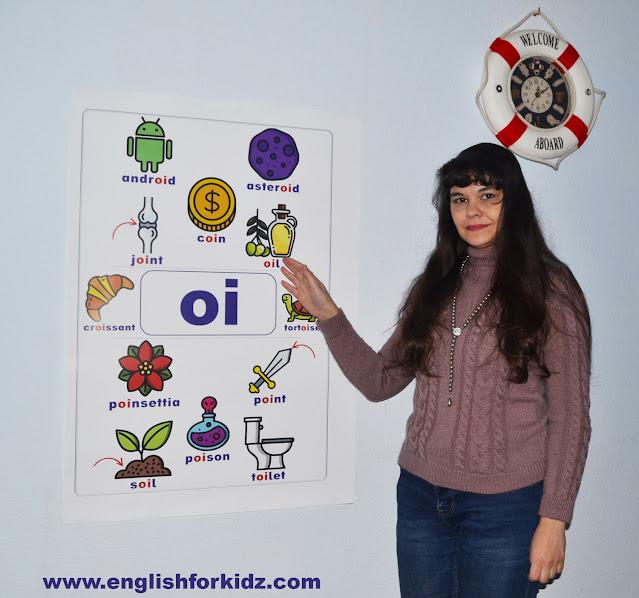 Printable vowel teams poster - ESL classroom decoration