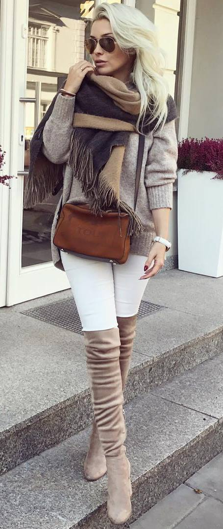 how to wear over knee boots : scarf + bag + nude sweater + white skinnies