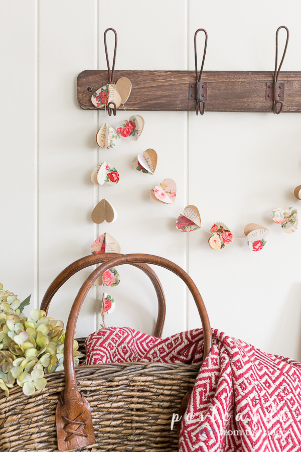 paper heart garland made with floral paper