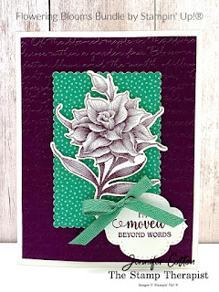 Thank you card using Stampin' Up!'s Flowering Blooms Bundle!  We also used the Flowers for Every Season designer paper, Stitched So Sweetly dies, Scripty embossing folder, and Just Jade In Color Ribbon.  Click the picture to go to blog/video!  #StampinUp #StampTherapist