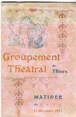 le Groupement Théâtral de Thiers en 1911.