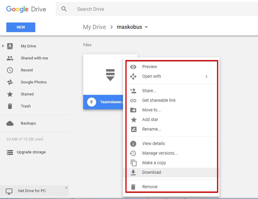 Menggunakan kembali file di google drive