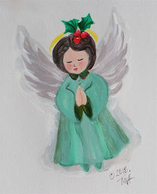 "Green ""Holly Angel"" acrylic paint on paper ©2018 Tina M.Welter"