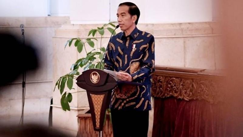 Presiden Joko Widodo berpidato di Istana Negara