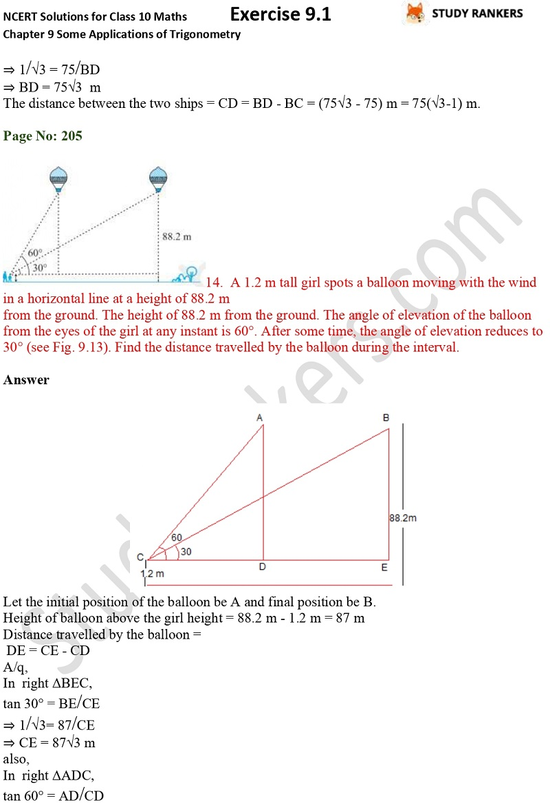 NCERT Solutions for Class 10 Maths Chapter 9 Some Applications of Trigonometry Exercise 9.1 Part 11