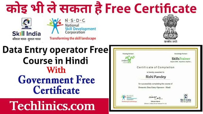 Online domestic data entry operator free course with government certificate in Skill India