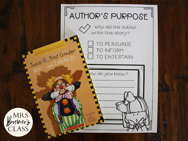 Junie B Jones Boo and I Mean It book study activities Halloween unit with Common Core aligned literacy companion activities for First Grade and Second Grade