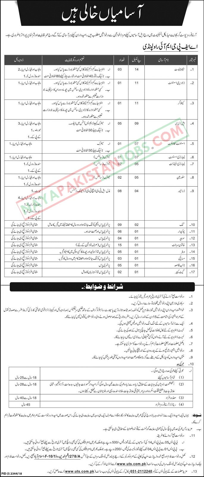 AFPGMI Jobs Application Form, Armed Forces Post Graduate Medical Institute Jobs Dec 2018