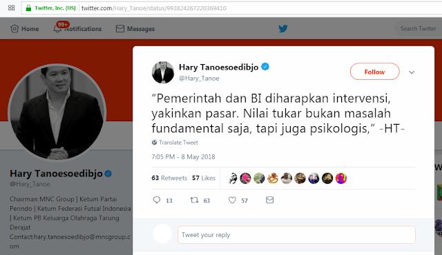 Rupiah Melorot, Hary Tanoe Sentil Pemerintah; Komentar Warganet Bikin Ngakak