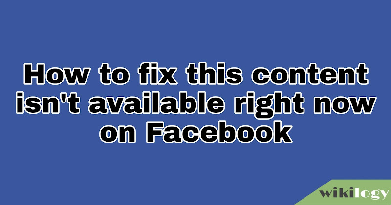 This content isn't available right now Facebook