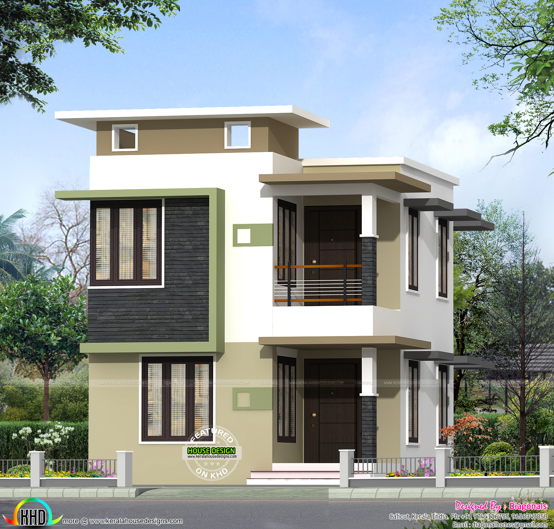 1631 sq ft budget flat roof home kerala home design and for Flat roof elevation