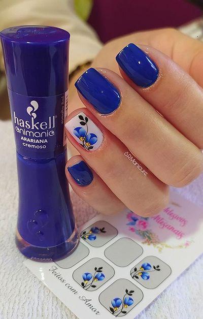 unhas decoradas azuis 1