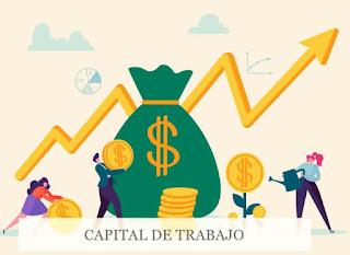 Capital de trabajo, hombres con bolsa de dinero y monedas