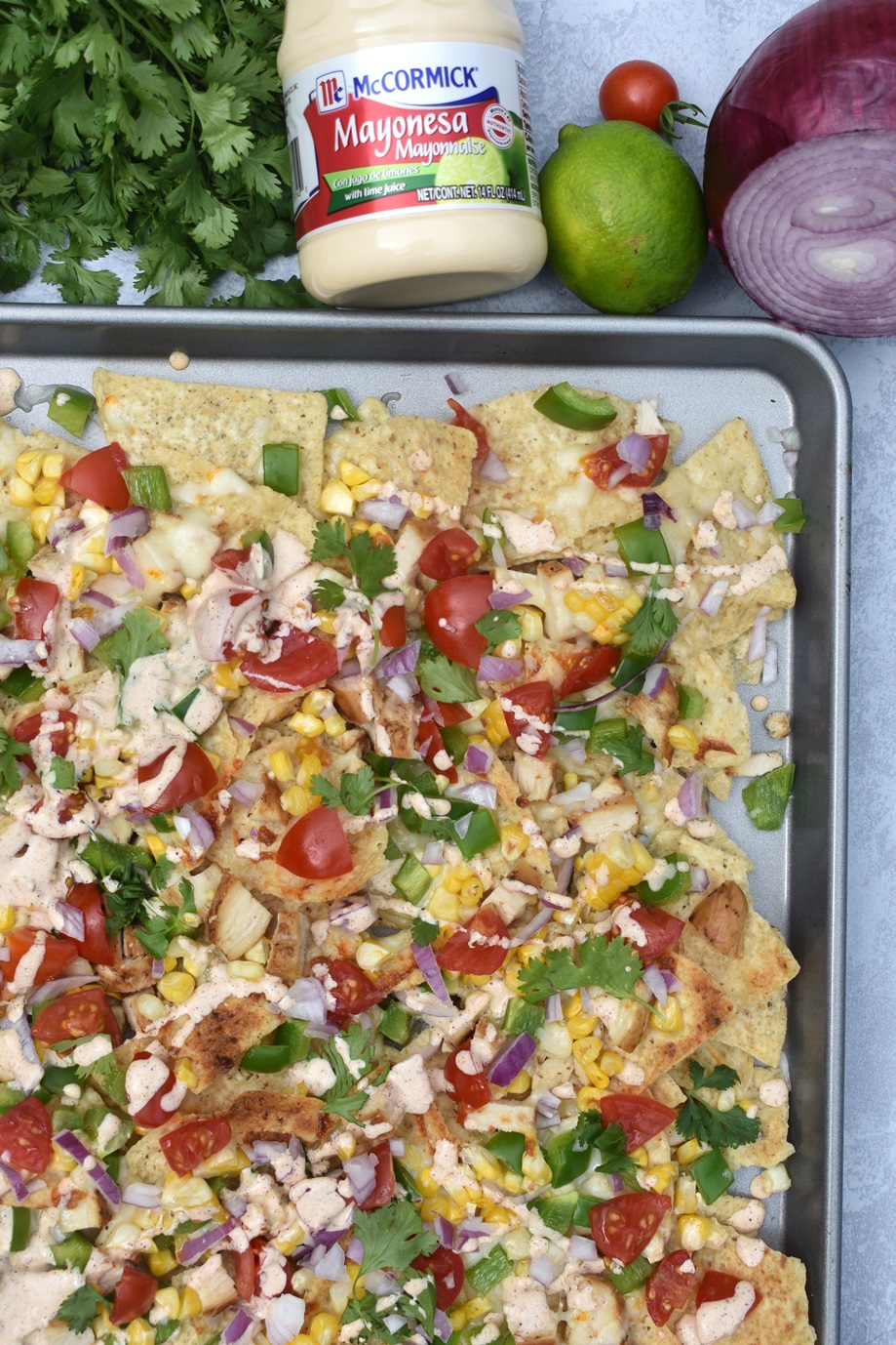 Veggie Loaded Mexican Street Corn Nachos