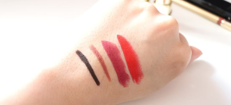 Swatches! Dolce & Gabbana Crayon Intense Eyeliner in Chocolate 10, Precision Lip Liner in Nude 01, Shine Lipstick in Precious 125 and Classic Cream Lipstick in Fire 235.