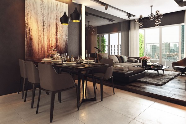 Feel cozy and intimate despite the scale of the space and made even cozier by the addition of warm wood tones to the mostly gray and white color theme