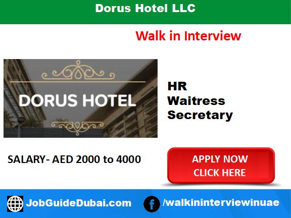 Dorus Hotel LLC career secretary, HR and Waitress job in Dubai