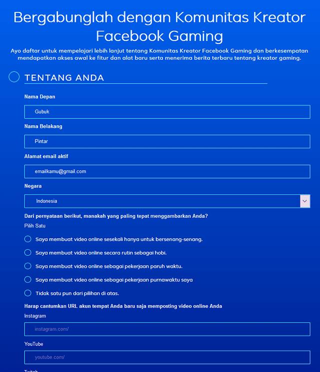 Memasukkan Data Untuk Daftar Facebook Gaming Creator