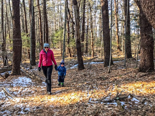 Mother and son hike in Kittery Maine