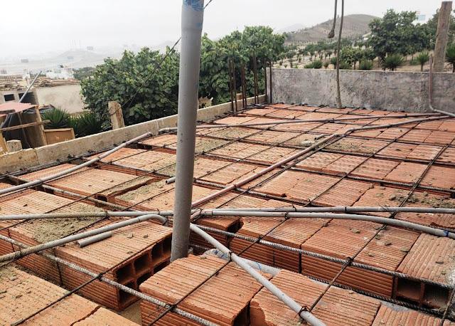 Casas de Playa, losa aligerada de techo
